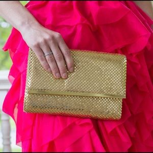 Handbags - Vintage Gold Clutch with Long Gold Chain